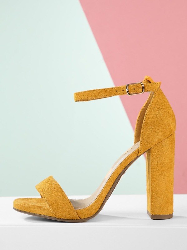 Ankle Strap Chunky High Heel Open Toe Sandals, null