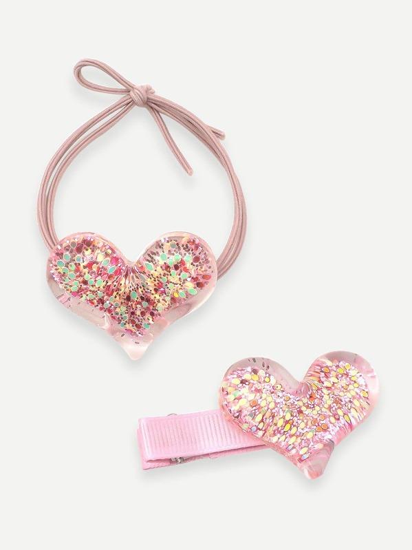 Аксессуары с украшением сердца и заколка для волос 2 шт для девочек