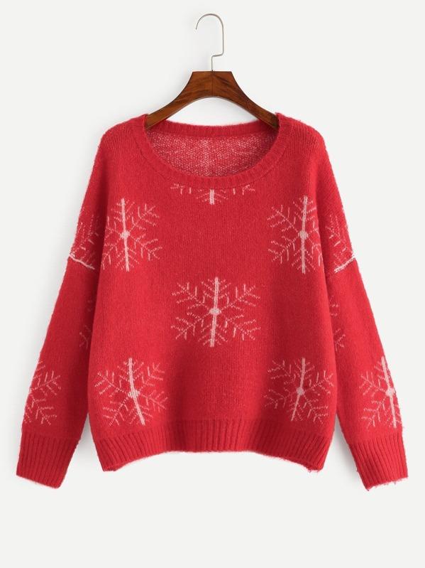 Drop Shoulder Snowflake Print Jumper, null