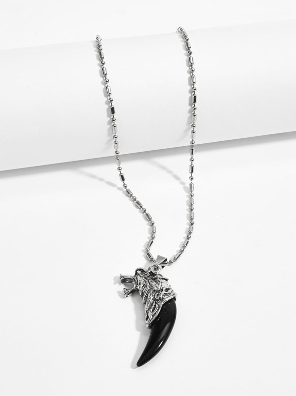 Men Tooth Detail Pendant Necklace, null