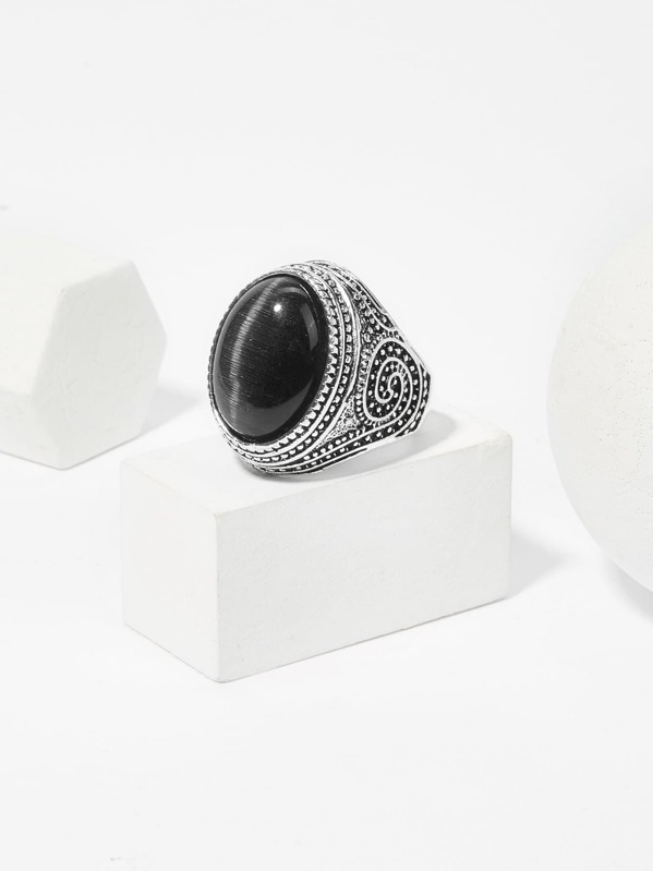 Men Gemstone Engraved Ring, null