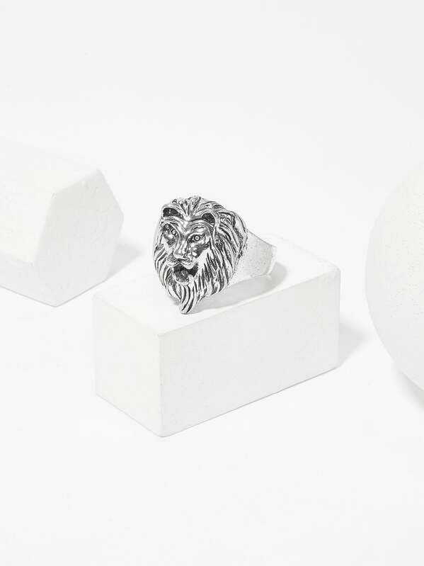 Men Lion Decorated Ring, null