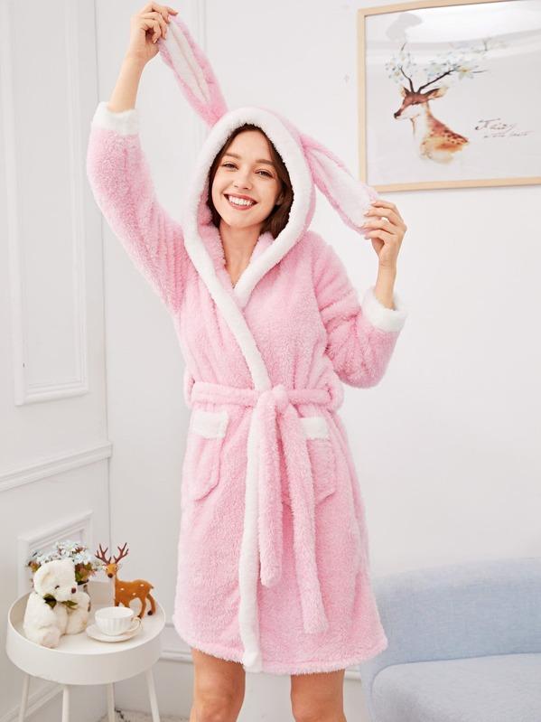 Christmas Rabbit Plush Hooded Robe