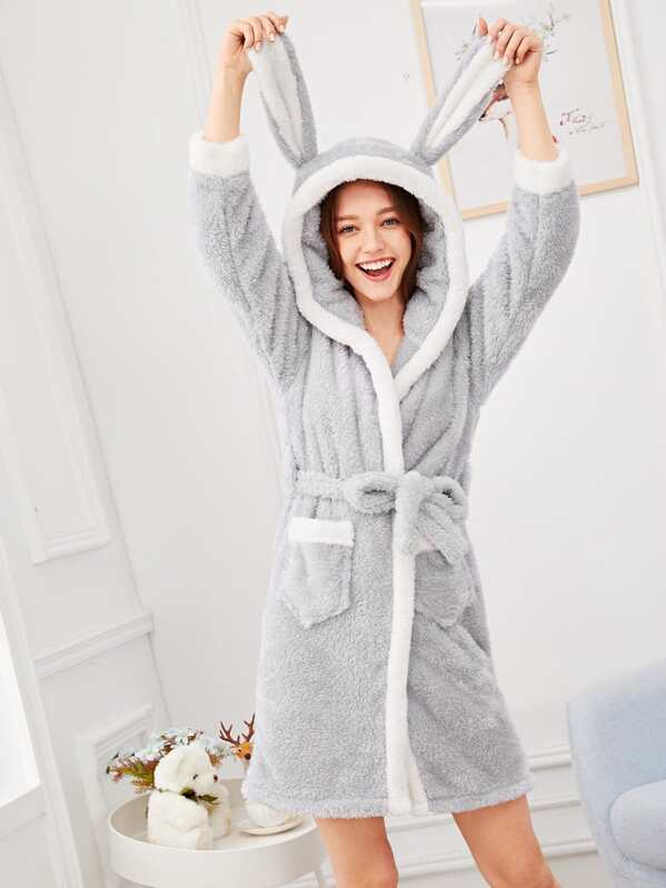 Christmas Rabbit Plush Hooded Robe, Poly