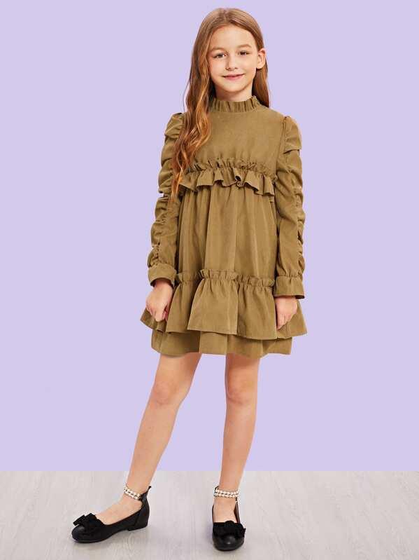 Girls Ruffle Trim Mock Neck Dress, Sashab