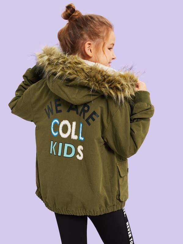 Girls Flap Pocket Faux Fur Hooded Coat, Sashab