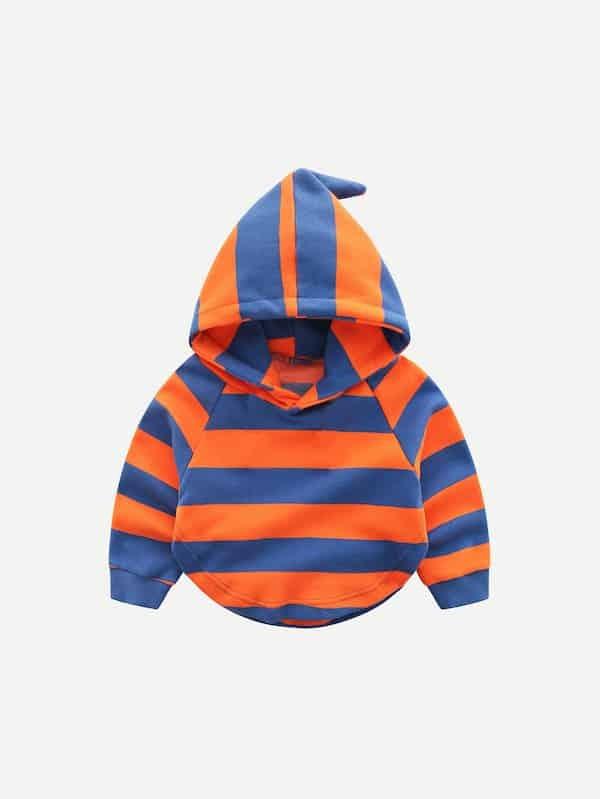 Toddler Boys Striped Curved Hem Hooded Sweatshirt