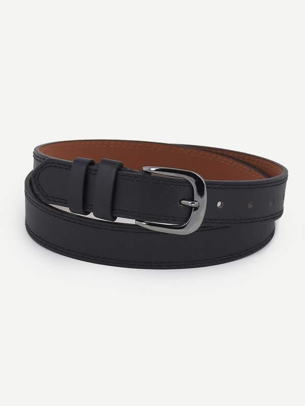 Men Plain Metal Buckle Belt, null