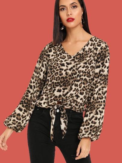 Knot Front Leopard Print V-Neck Top