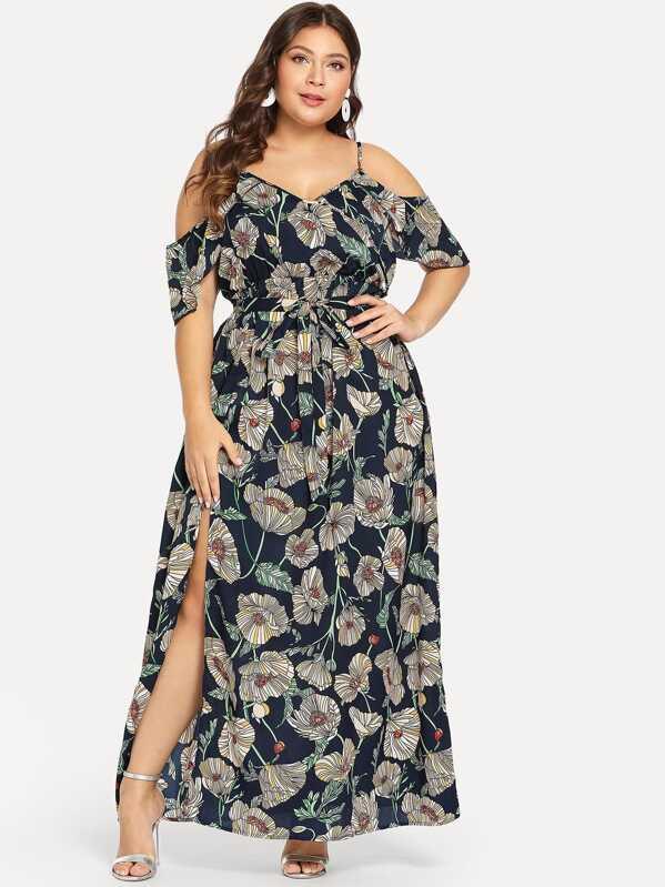 Plus Cold Shoulder Slit Hem Floral Dress, Franziska