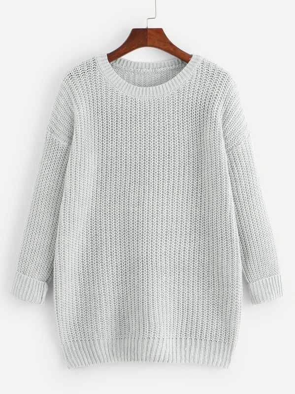 Grey Drop Shoulder Textured Sweater, null