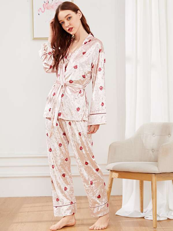 Strawberry Print Velvet Cami PJ Set With Robe