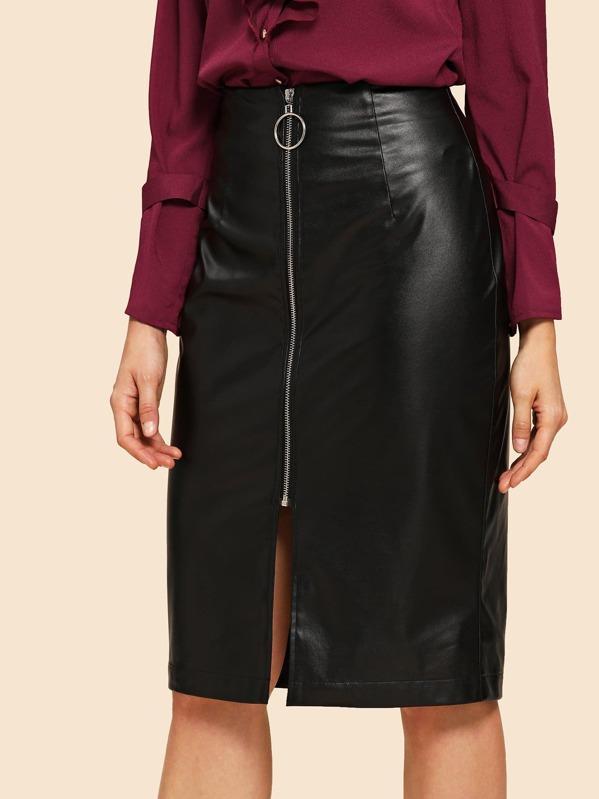 80s O-Ring Zipper Front Skirt