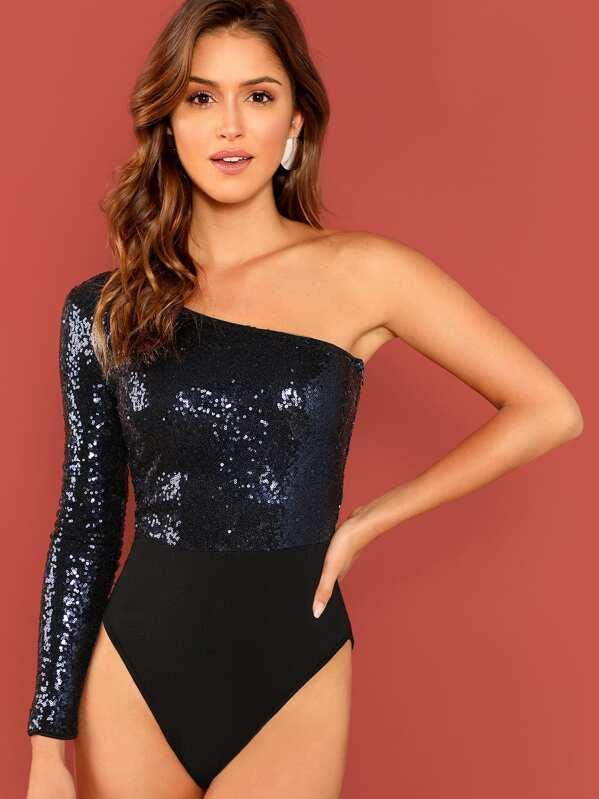 Contrast Sequin One Shoulder Bodysuit, Gigi Paris