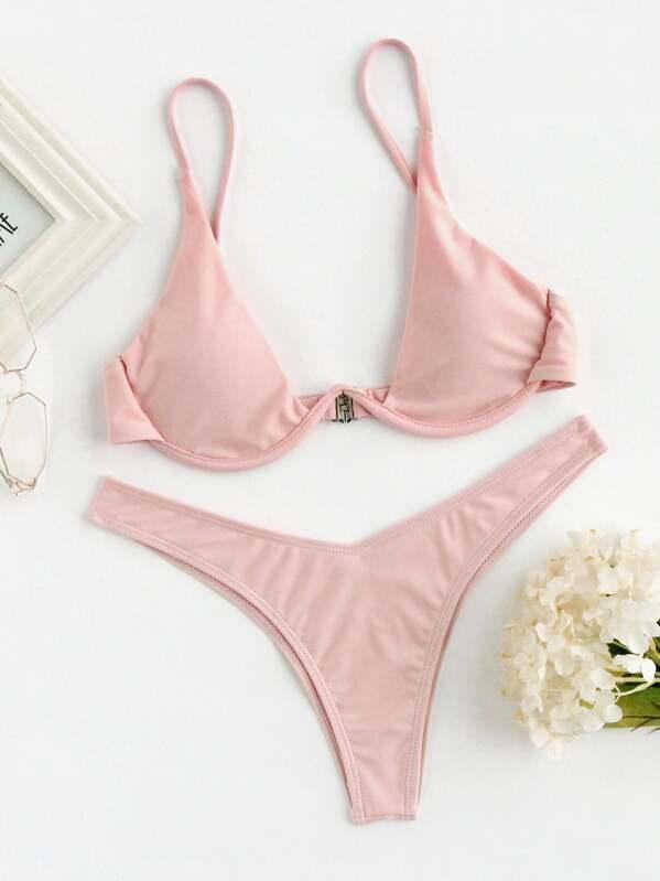 Underwire Top With High Leg Bikini Set