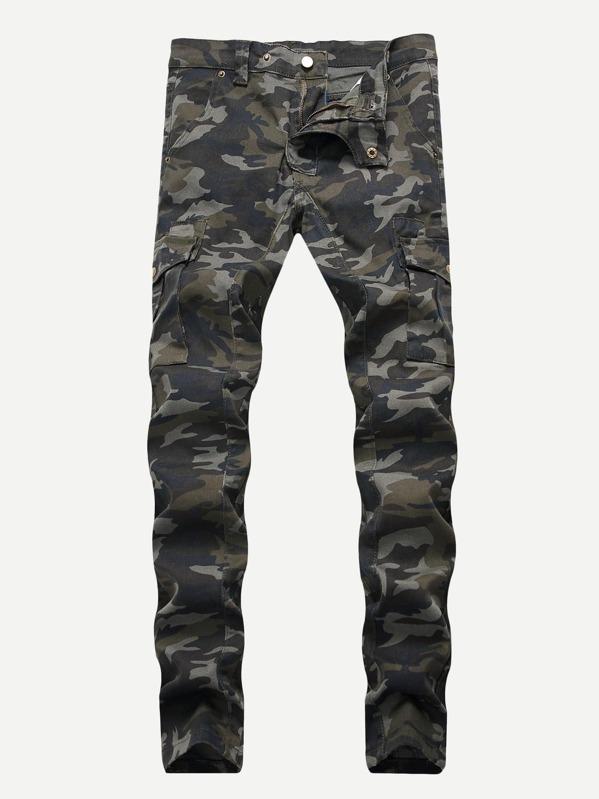 Men Pocket Side Camouflage Print Jeans