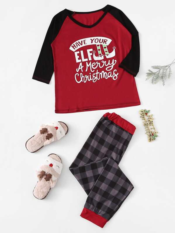 Christmas Letter Print Plaid Pajama Set