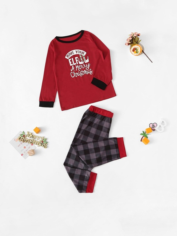 Christmas Kids Letter Print Plaid Pajama Set