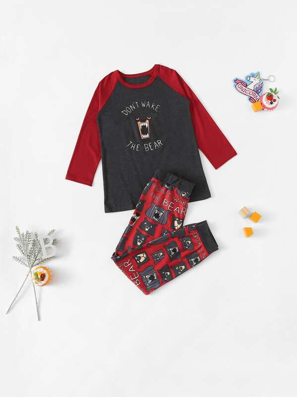 Christmas Kids Bear & Letter Print Pajama Set, null