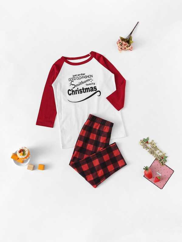 Christmas Kids Letter Print Plaid Pajama Set, null