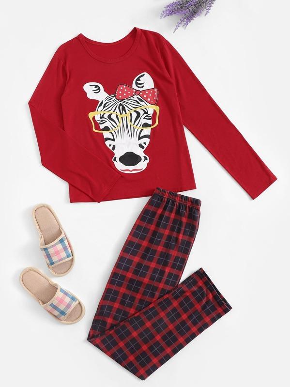 Christmas Zebra Print Plaid Pajama Set