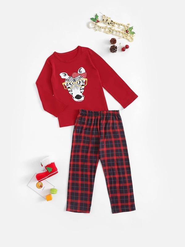Christmas Kids Zebra Print Plaid Pajama Set, null