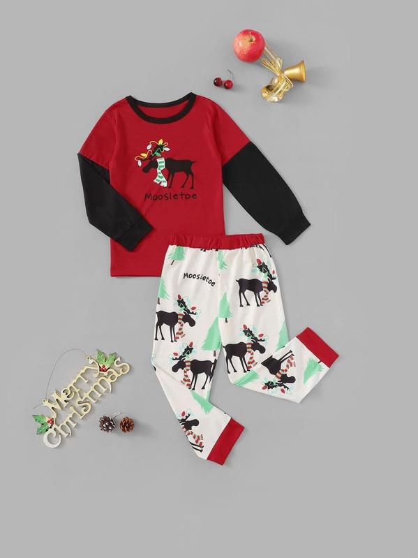 Christmas Kids Deer Print Colorblock Pajama Set, null