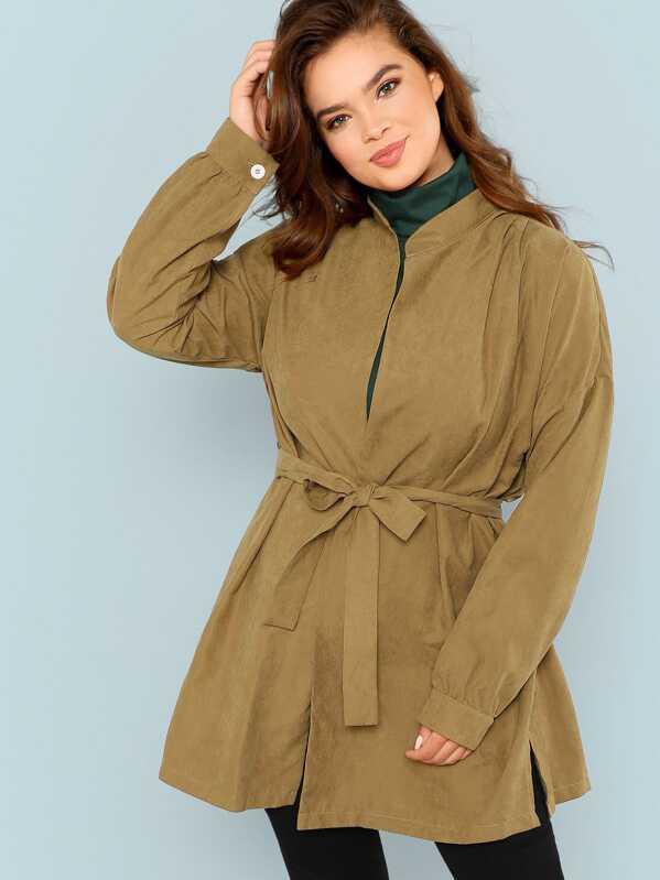 Plus Drop Shoulder Belted Coat, Faith Bowman