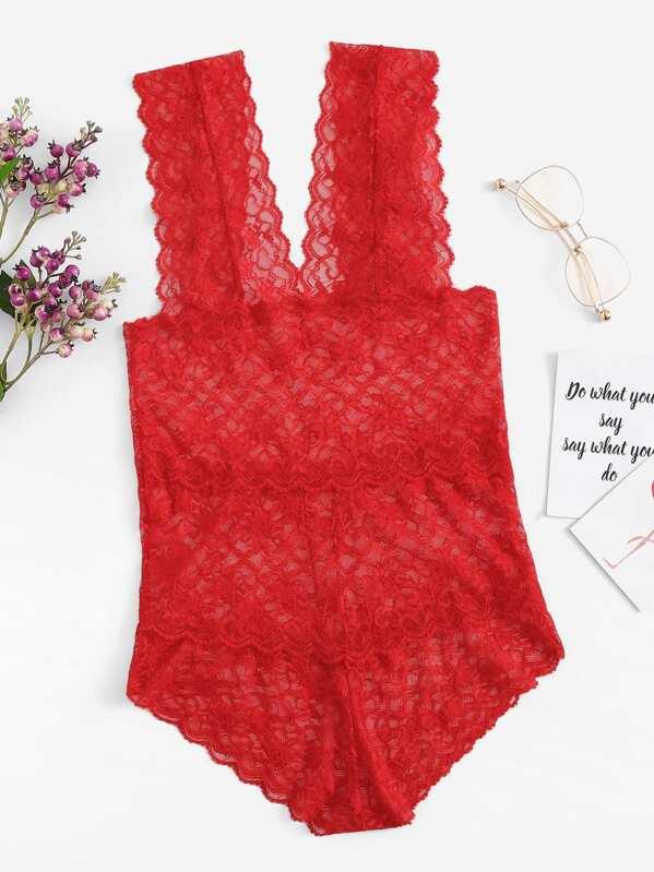Floral Lace Teddy Bodysuit