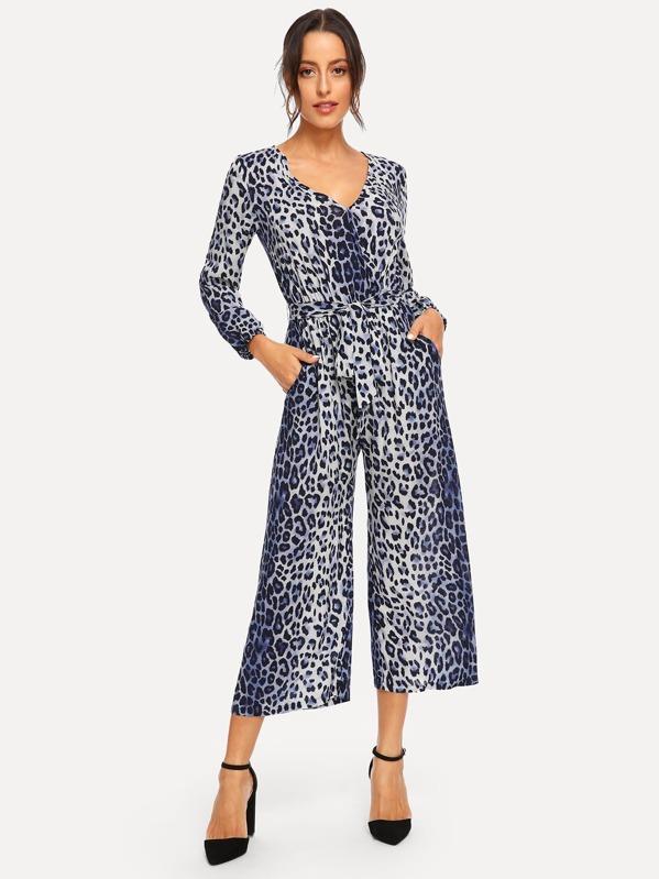Waist Belted Leopard Print V-Neck Jumpsuit