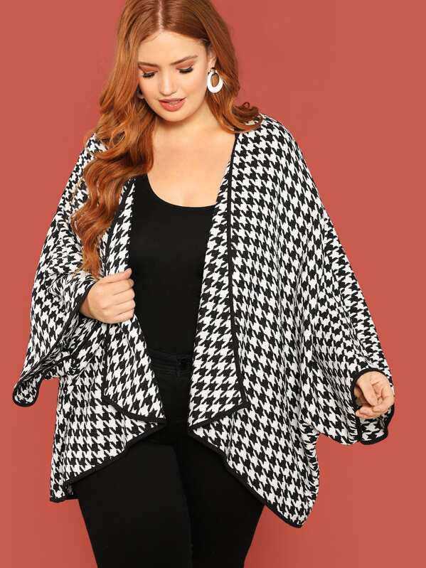 Plus Houndstooth High Low Coat, Bree Kish