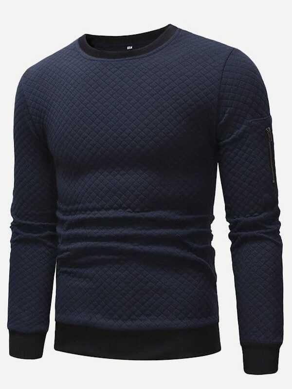 Men Contrast Trim Zip Side Sweatshirt
