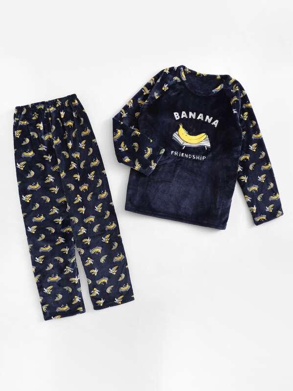 Christmas Banana Print Plush Pajama Set, null