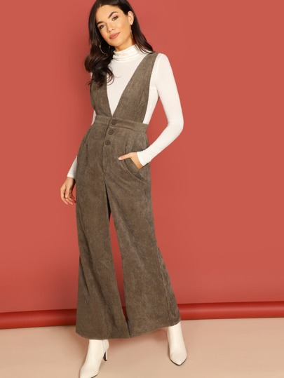 Corduroy Button Front Wide Leg Jumpsuit