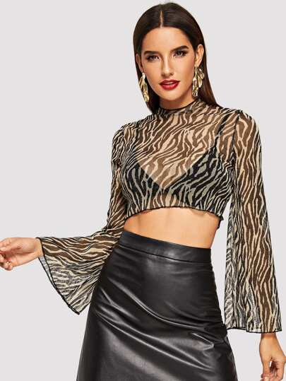 Trumpet Sleeve Sheer Zebra Print Top