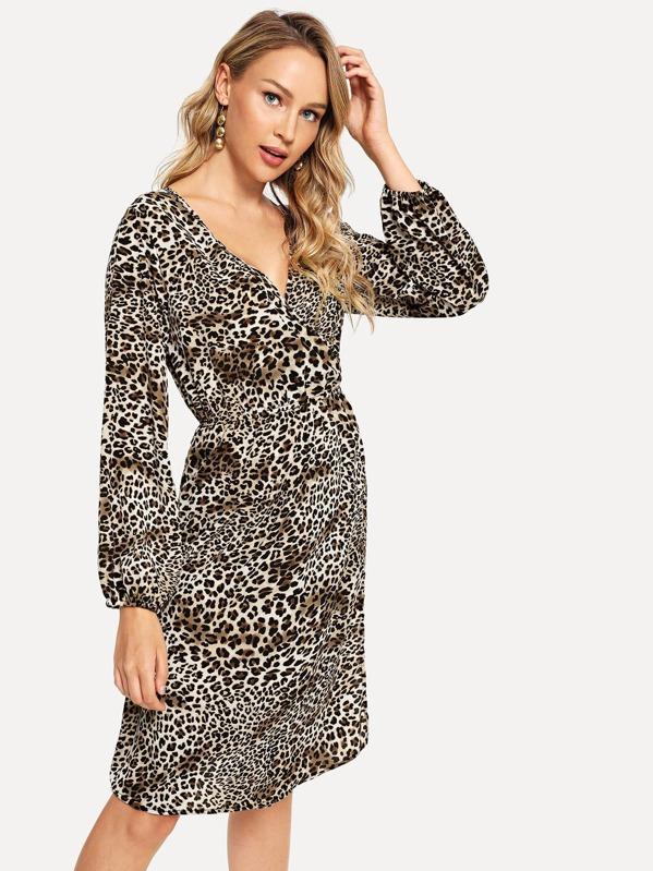 Surplice Neck Leopard Print Dress, Sasa