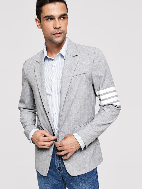 Men Button & Pocket Front Notched Neck Blazer, JOAO
