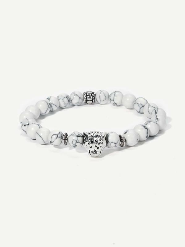 Men Marble Pattern Beaded Bracelet, null