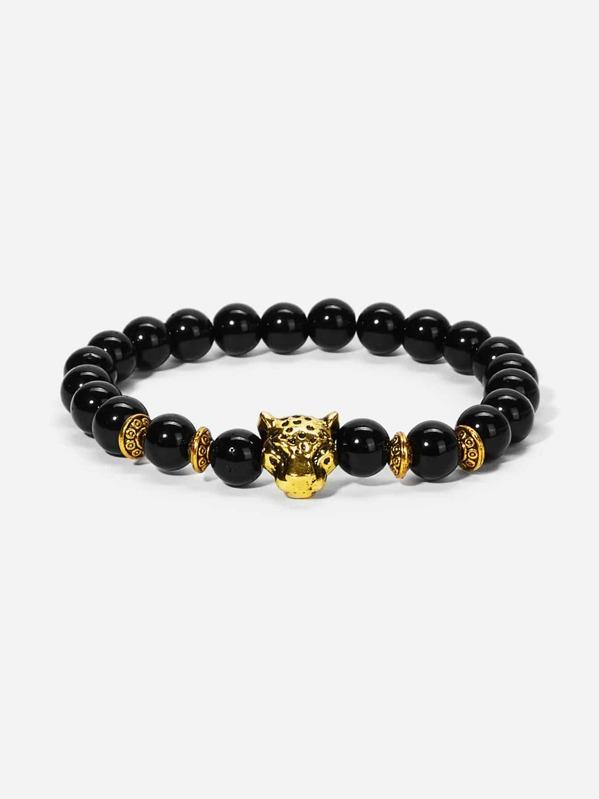 Men Leopard Detail Beaded Bracelet, null