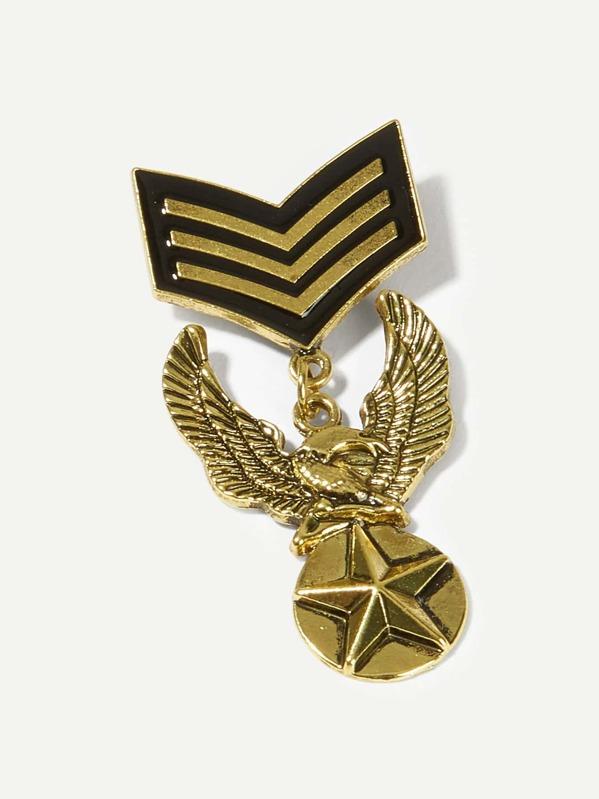 Men Eagle Design Medal Brooch, null