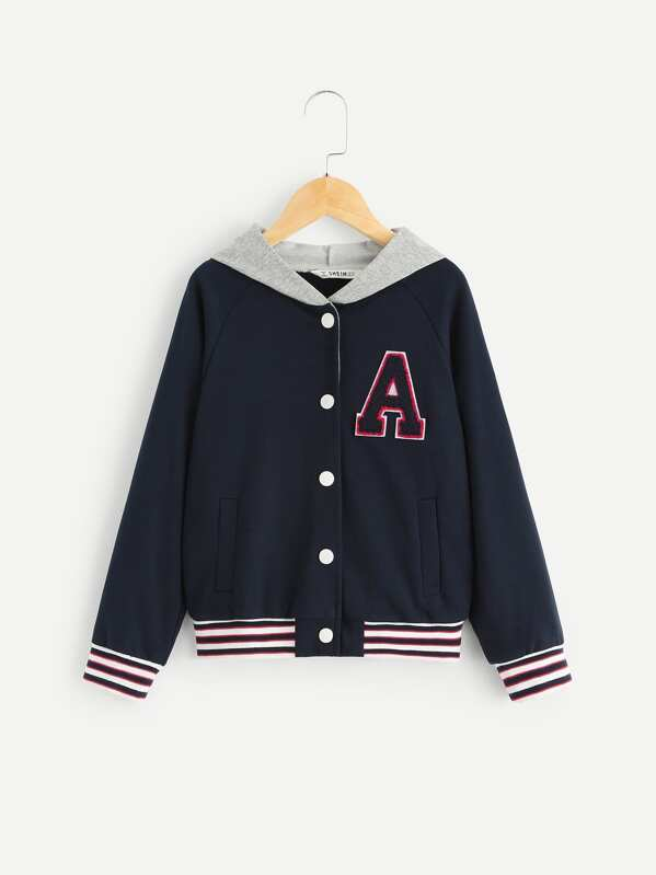 Girls Patch Detail Button Up Hoodie