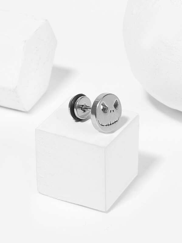 Men Face Round Stud Earring 1pc, null