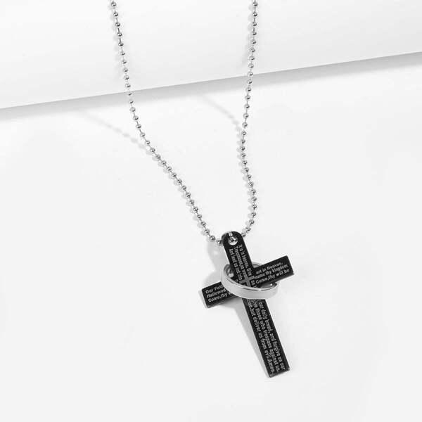 Men Cross & Ring Pendant Necklace