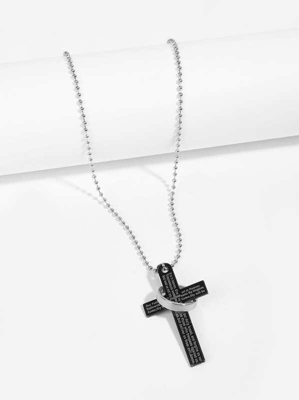 Men Cross & Ring Pendant Necklace, null