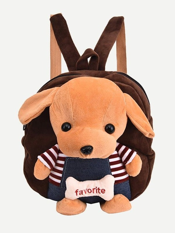 Kids Fuzzy Dog Design Backpack