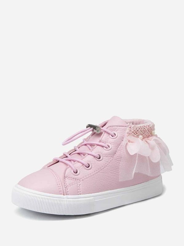 Контрастные кроссовки с шнурками для маленьких девочек, null