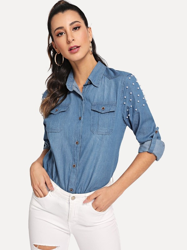 Pearl Bead Pocket Patched Blouse, Gabe