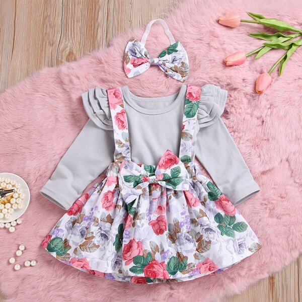 Baby Ruffle Trim Top & Floral Print Pinafore Skirt & Headband