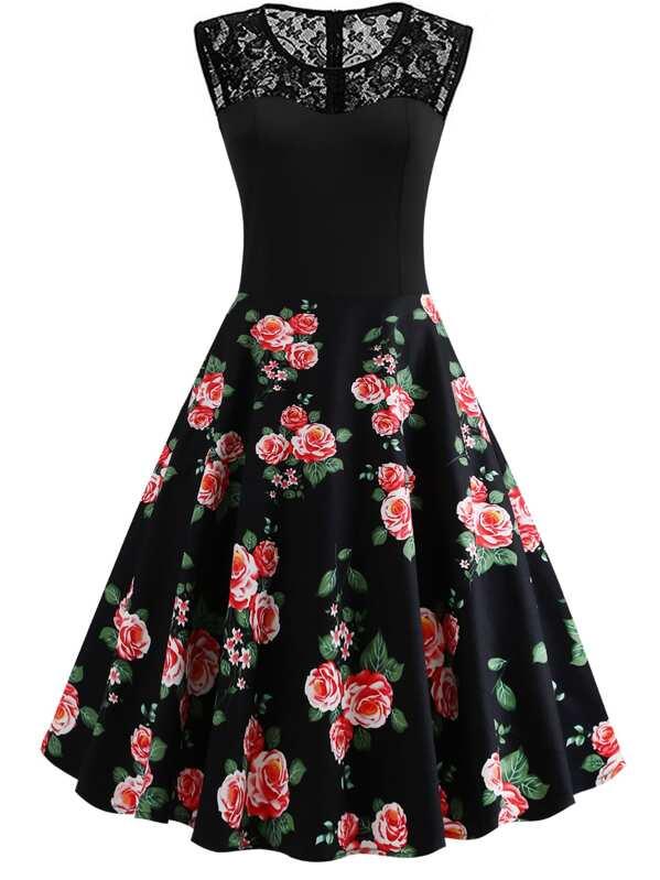 50s Contrast Lace Floral Print Dress