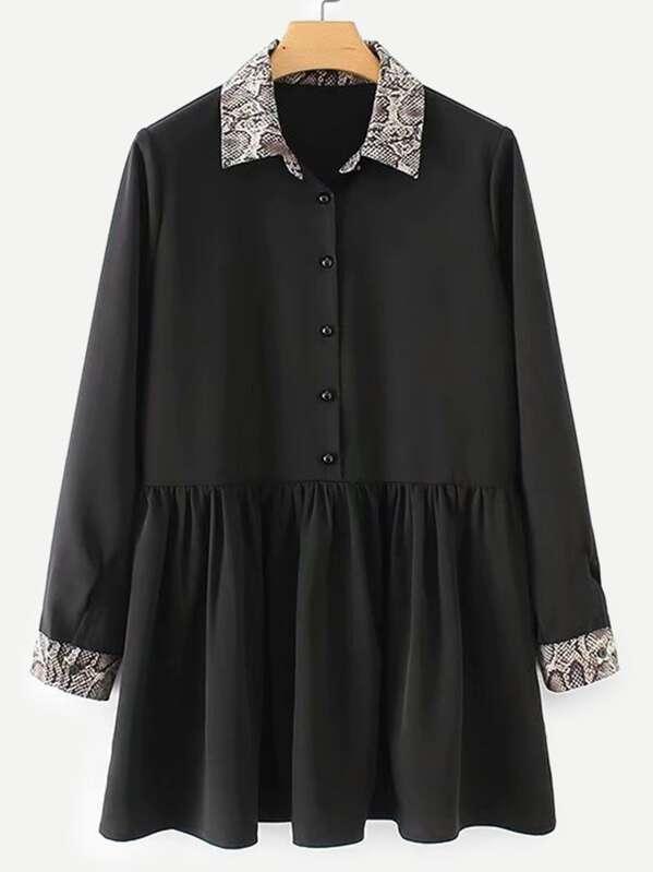 Contrast Snakeskin Print Trim Shirt Dress